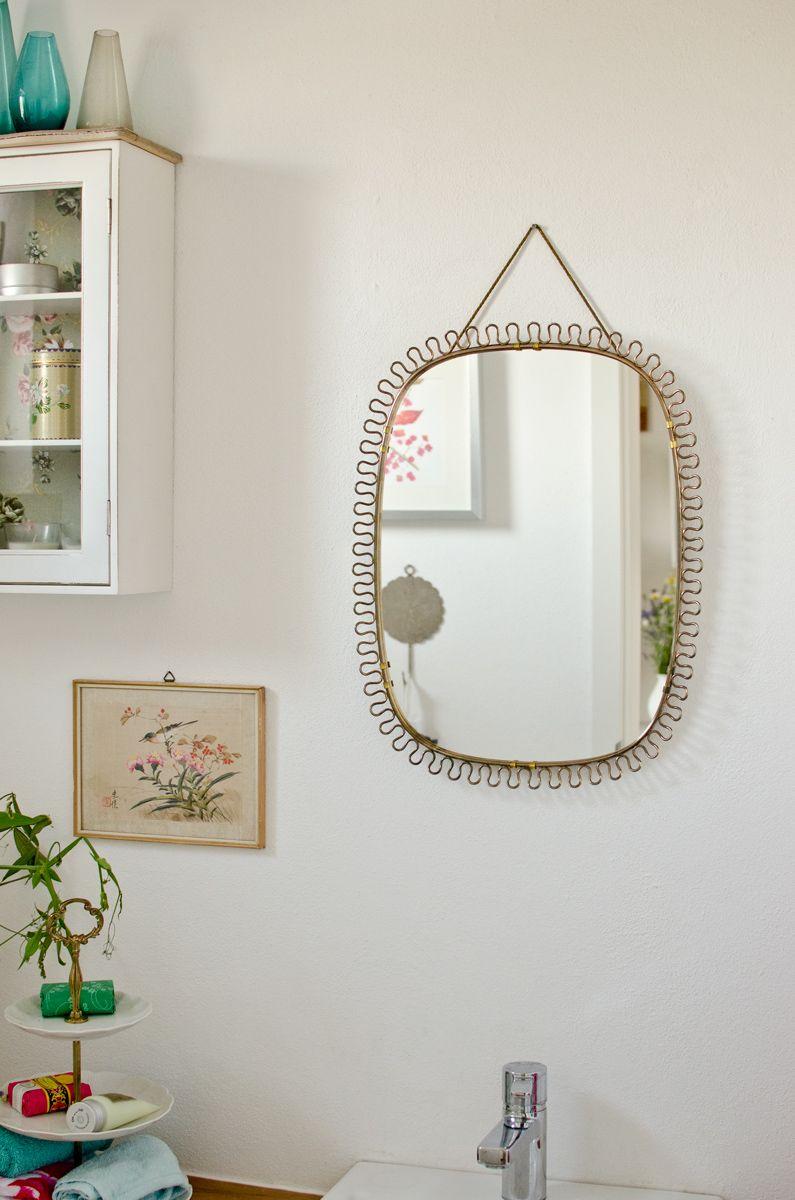 50er jahre vintage spiegel aus goldfarbenem metall für den, Badezimmer ideen