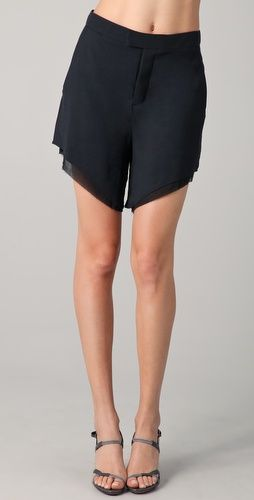 Helmut Lang raw hem layered shorts