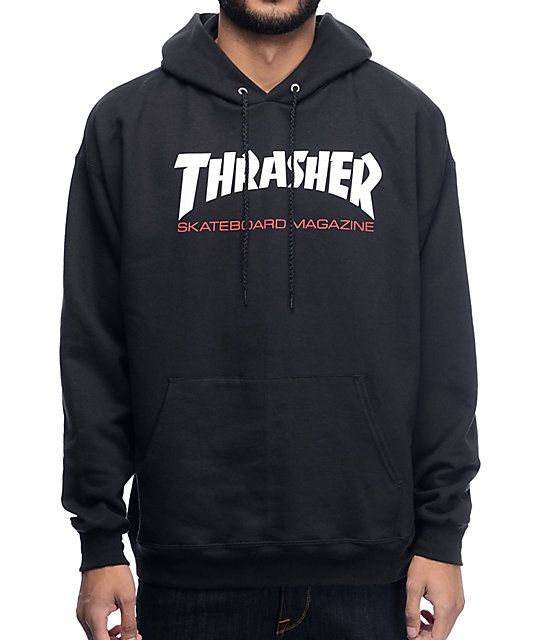 be5df4b71065 This fleece lined pullover sweatshirt features a screen printed Thrasher  Skate Mag text graphic on the chest and ...