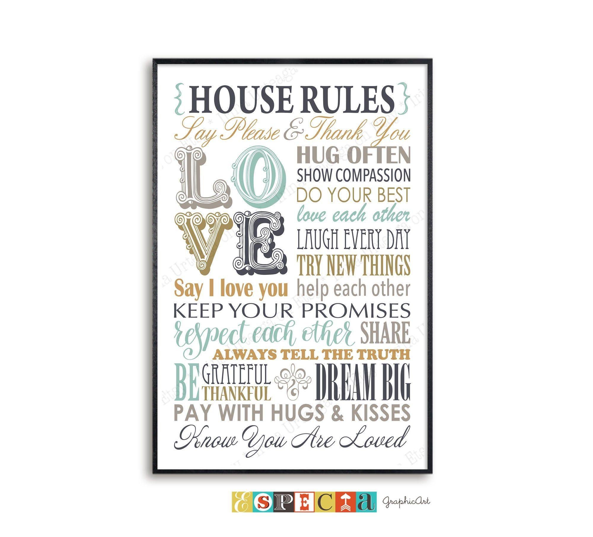 House Rules Wall Art Printable Poster Digital Print For