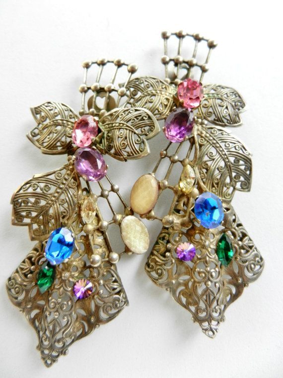 Awesome 1960s vintage Italian long earrings - dazzling and perfect for collection - Long Earrings pendants unique pieces--art.660/2-