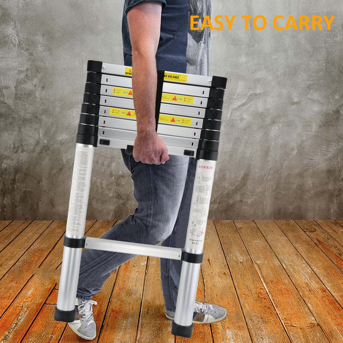 8 5ft Telescopic Extension Ladder With Spring Loaded Locking Mechanism Nonslip 330 Lb Max Click The Picture For Additional Details Ladder Household Locks