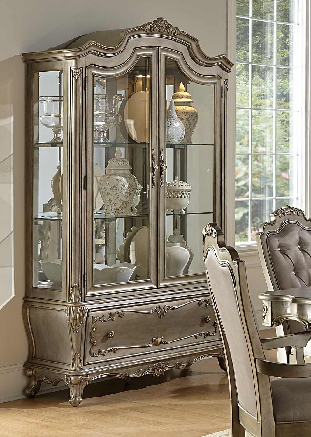 Homelegance Florentina China Cabinet Silver Gold In 2020 China