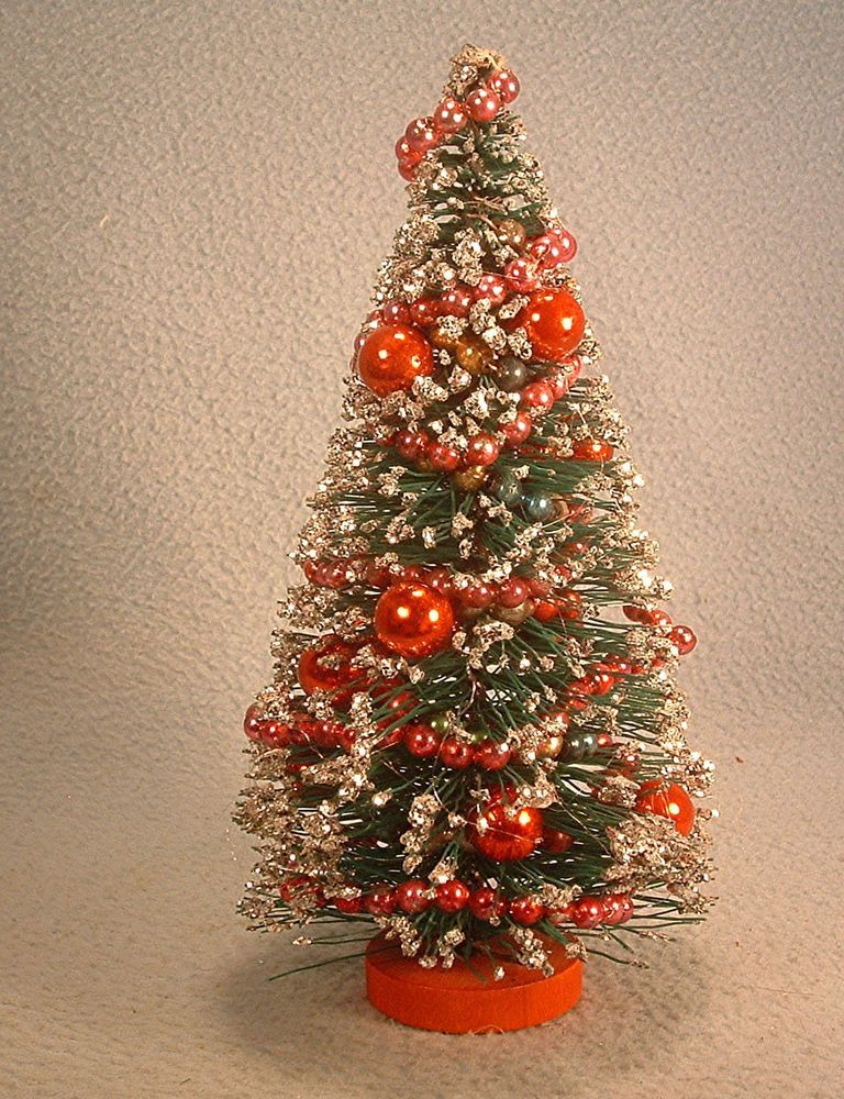 Vintage 8 Inch Bottle Brush ChristmasTree with Mercury Glass Garland
