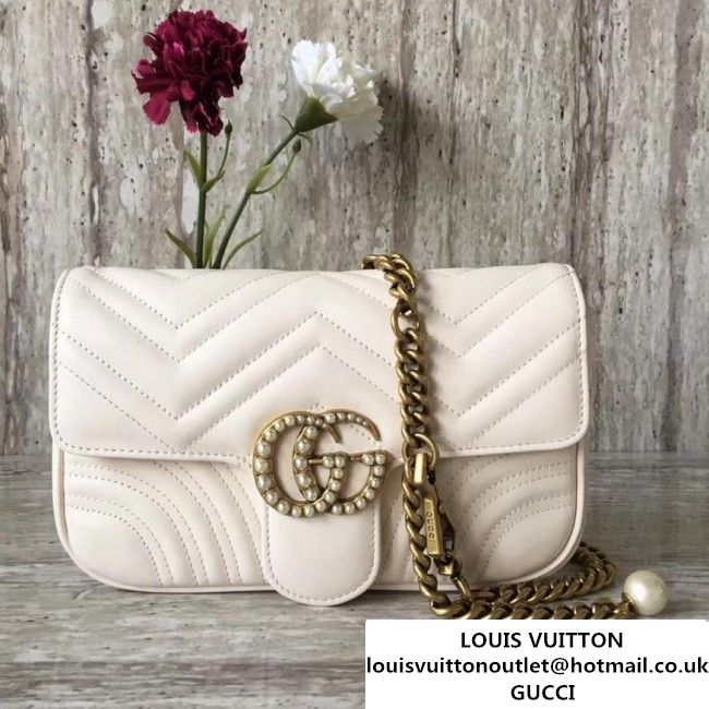 Gucci GG Marmont Chain Belt Bag With Pearls White 476809