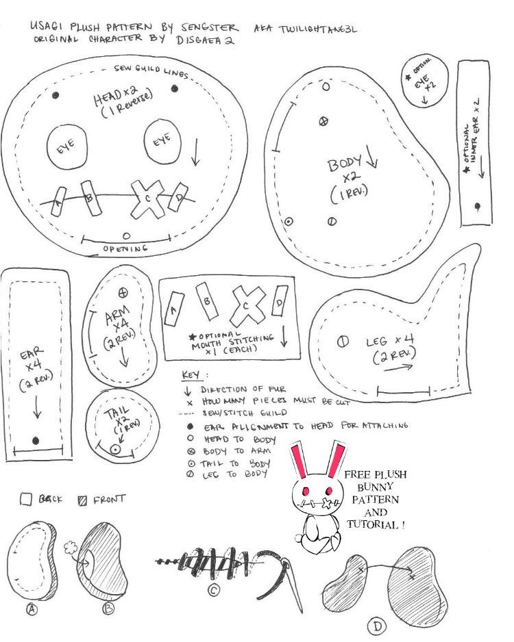 free Bunny Rabbit Patterns | FREE BUNNY PATTERN N TUTORIAL by ...