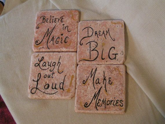 Inspirational quote painted coaster set by cherigueco on Etsy, $20.00