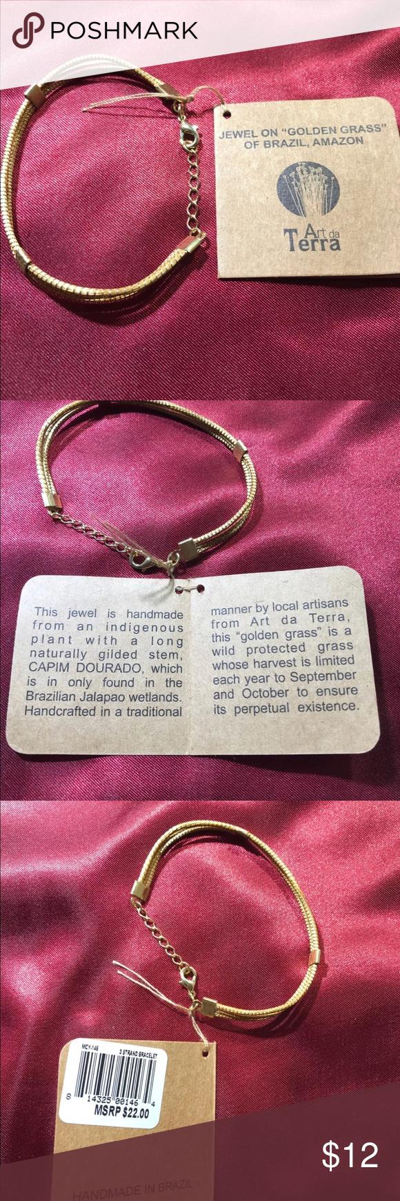 Golden grassud bracelet handmade in brazil brazil grasses and
