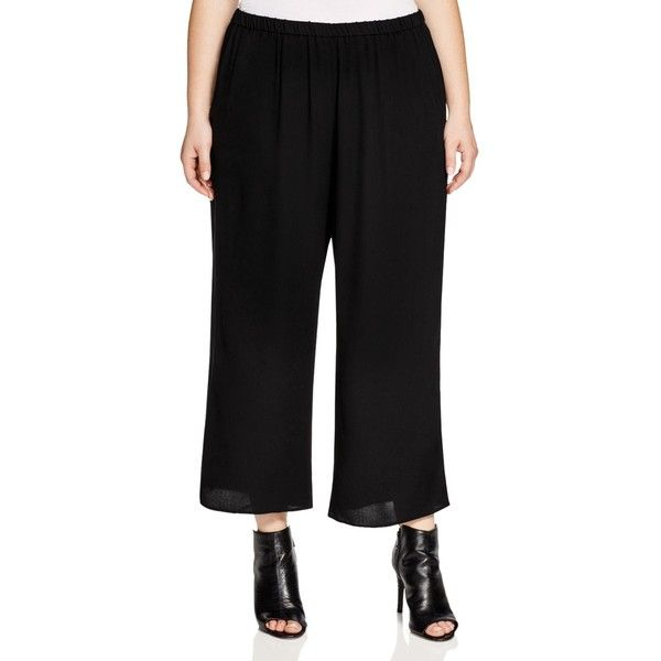 Eileen Fisher Plus Cropped Silk Wide Leg Pants ($268) ❤ liked on ...