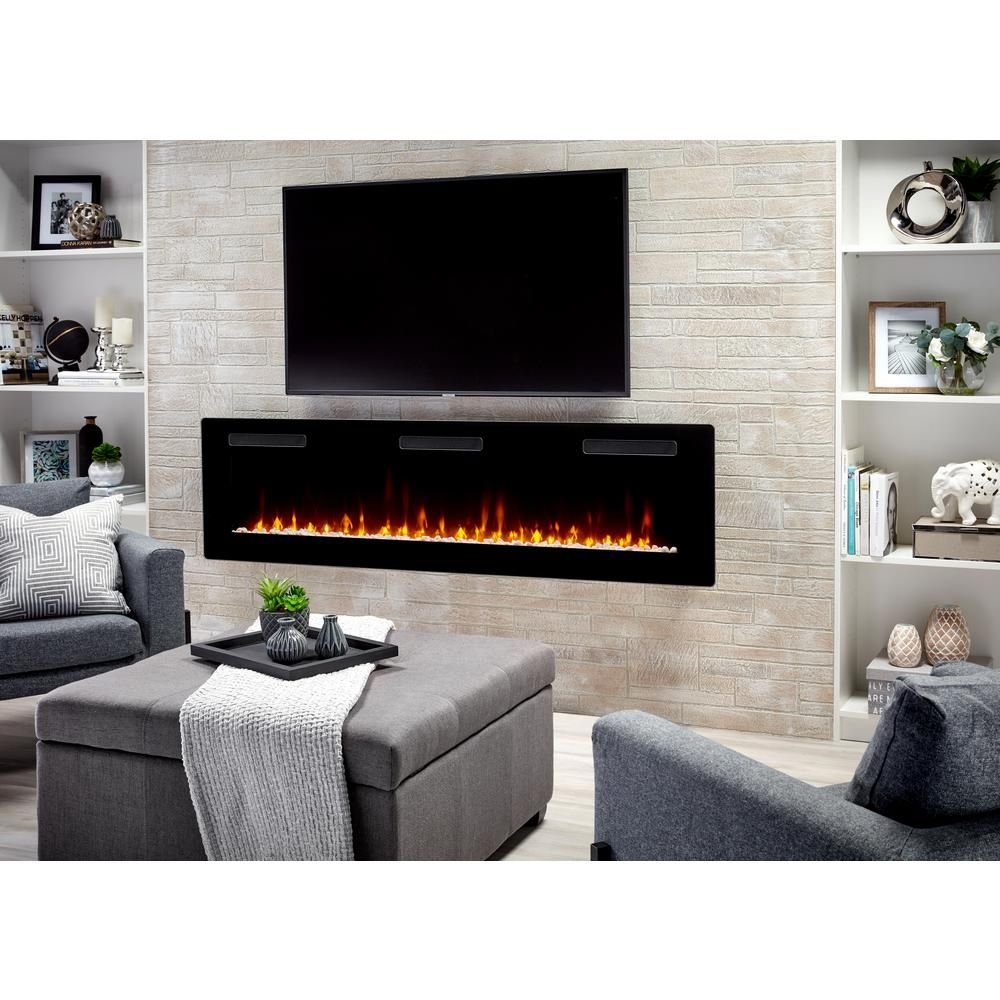 C3 Sierra 72 In Wall Built In Linear Electric Fireplace In Black