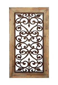Tuscan Carved Garden Gate Wall Panel Art Decor Framed Scroll Wood