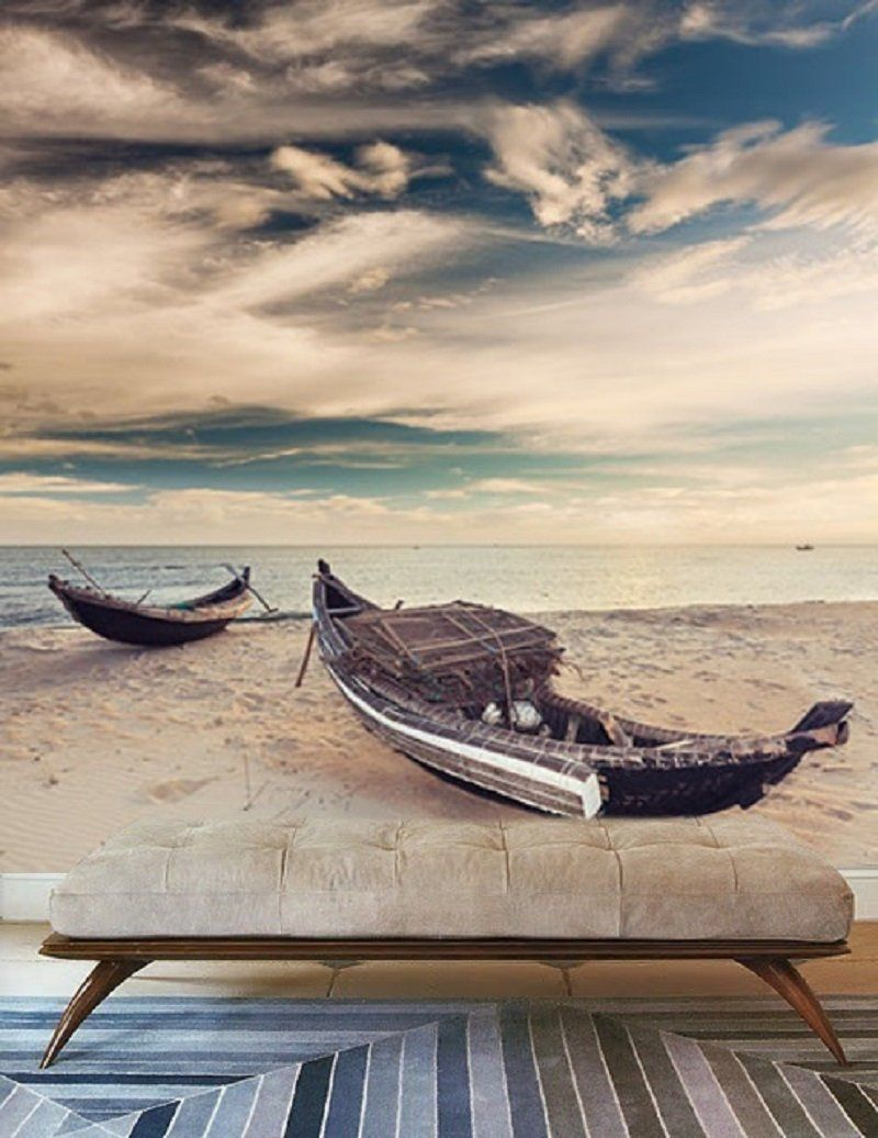Maritime Wandgestaltung Boat At Sunrise Wallpaper Maritime Scenery Nature Wall Mural