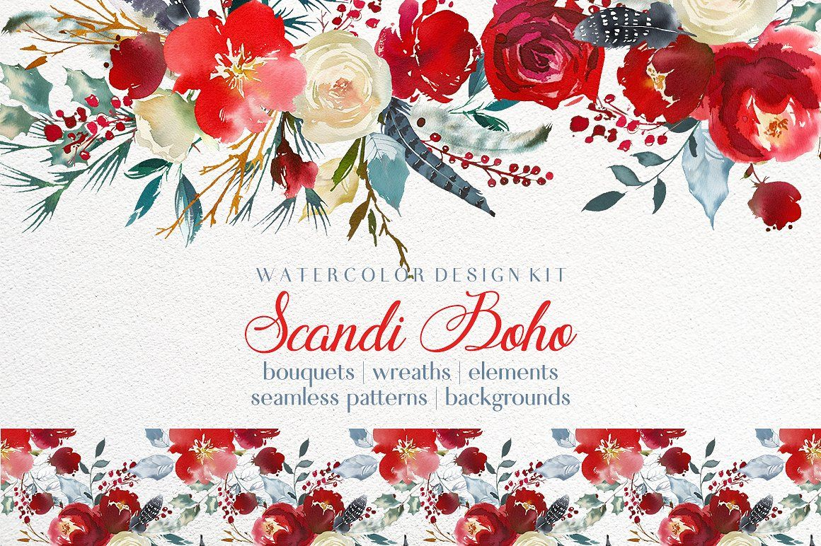 Boho Scandi Red Flowers Png Red Florals Christmas Flowers Bouquets Scarlett Boho Watercolor Clipart R Floral Watercolor Christmas Watercolor Watercolor Flowers