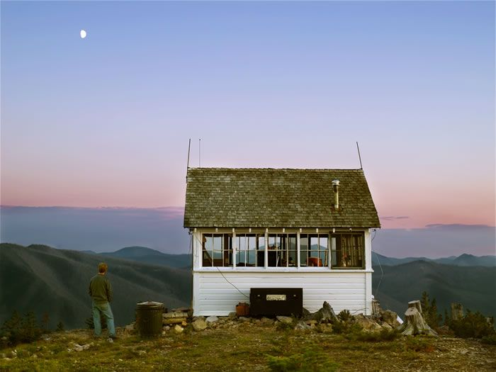 Fire lookout, Montana. You can rent these cabins for less than $20.00 per night from the US Forest Service.