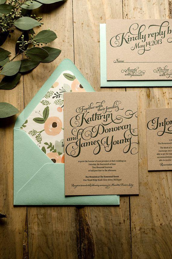 Rustic Wedding Invitation, Mint & Kraft Wedding Invitation, Rustic Wedding Invite, Calligraphy Invitation - Deposit to Get Started