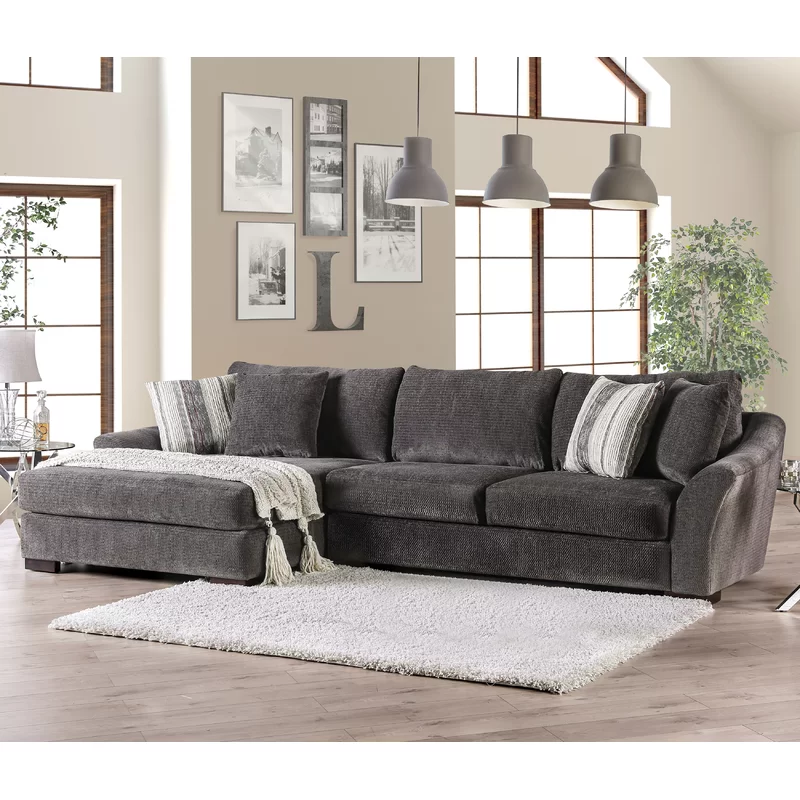 Manchester 140 Wide Chenille Left Hand Facing Modular Sofa Chaise Sectional Sofa Living Room Furniture Styles Furniture