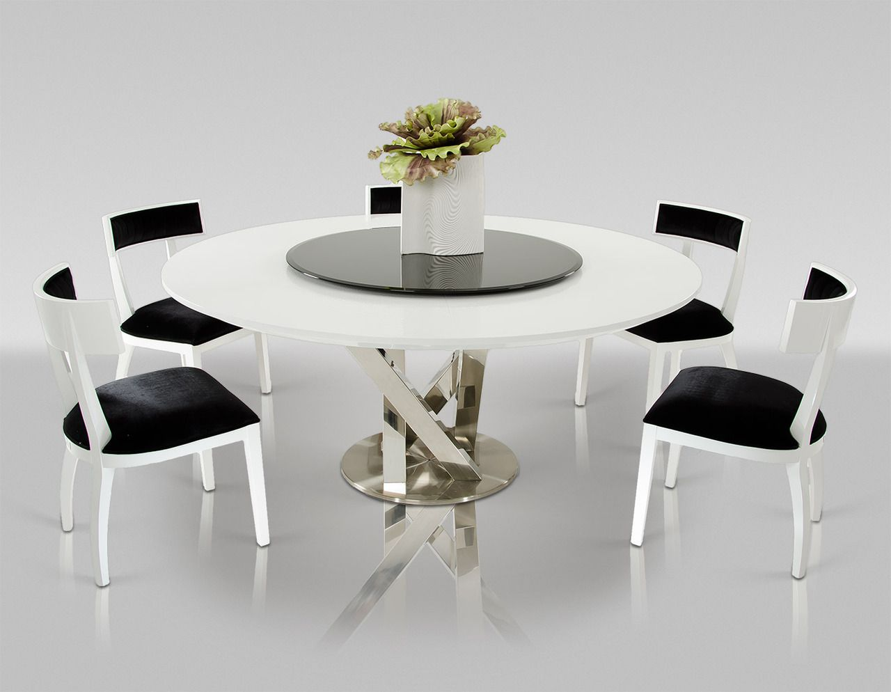 A Amp X Spiral Modern Round White Dining Table With Lazy Susan