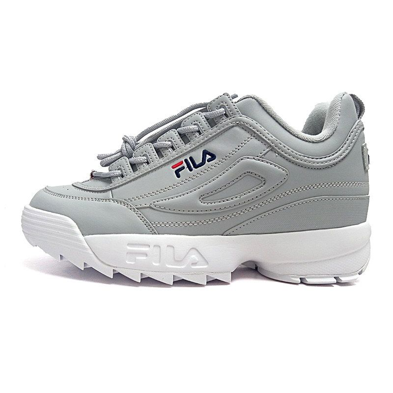 d29868cb88fc Men Womens Fila Disruptor 2 Grey White Shoes - http   www.cheapsjordan13