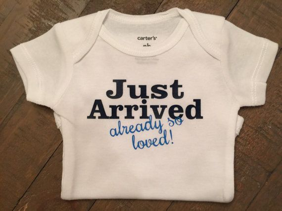 Just Arrived newborn onsie by TugboatsAndTutus on Etsy