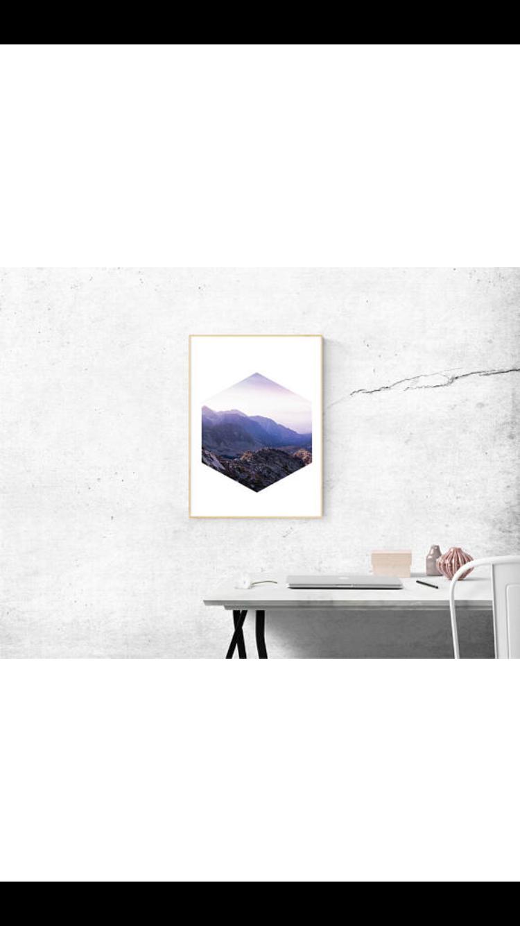 Beautiful mountain range hexagon digital print, minimalist wall ...