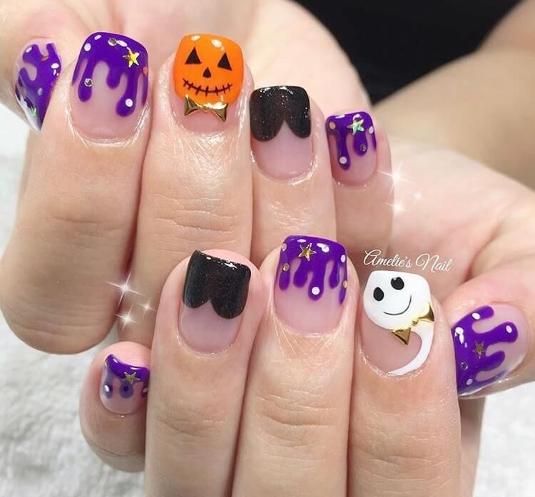 20 Cute Halloween Short Nails For 2020 Ideasdonuts In 2020 Halloween Acrylic Nails Halloween Nails Halloween Nail Designs