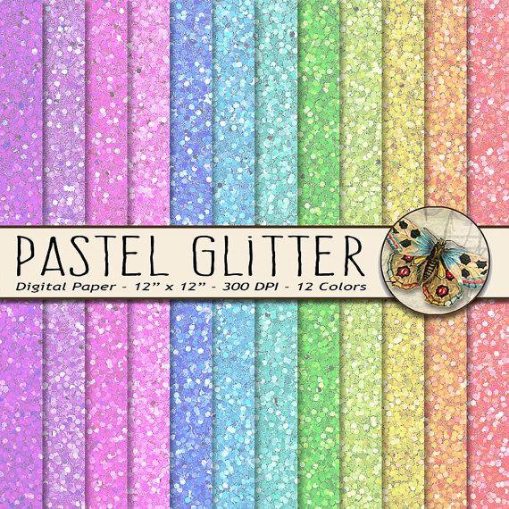 Pastel Rainbow Glitter Paper In 12 Pastel Rainbow Colors Etsy Glitter Digital Paper Glitter Paper Rainbow Glitter