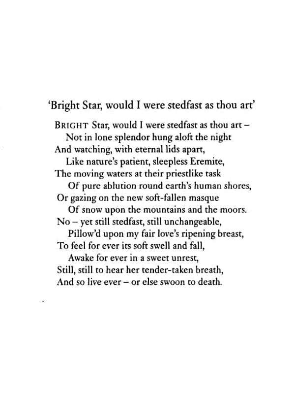 commentary on sonnet bright star by john keats essay La belle dame sans merci by john keats  thank you so much honestly you have made me feel more confident for this comparison essay for my gcse thank you once.