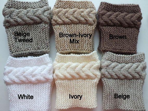 Hand gestrickte Schafswolle Womens Boot Manschetten Farbe: 8-Farben ...