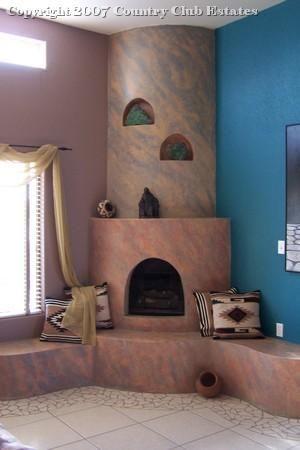 Santa Fe estate fireplace