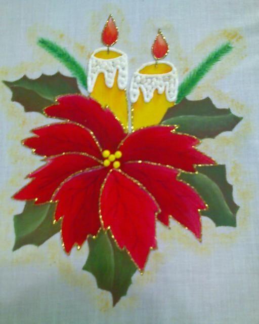 Resultado De Imagen De Flor De Pascua Y Motivos Navidenos Para Pintar Una Manteleria Manteles De Navidad Pintura En Tela Navidad Pintura En Tela Navidena