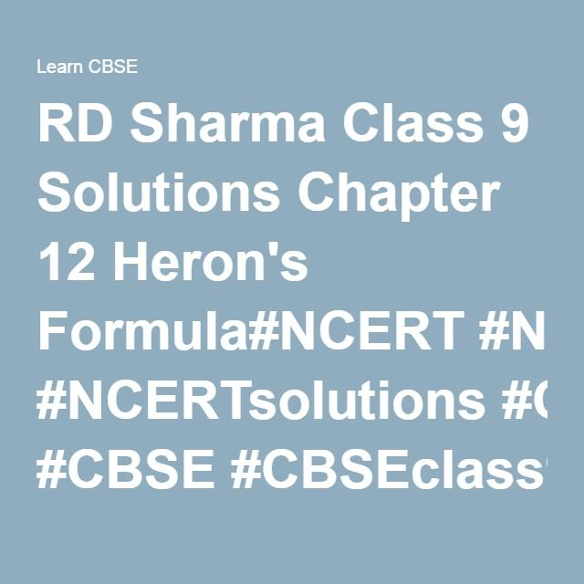 RD Sharma Class 9 Solutions Chapter 12 Heronu0027s Formula#NCERT - best of informal letter format sample cbse