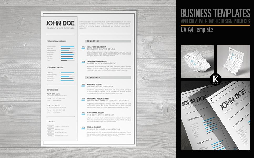 CV A4 Format inDesign Resume Template 65326 Indesign
