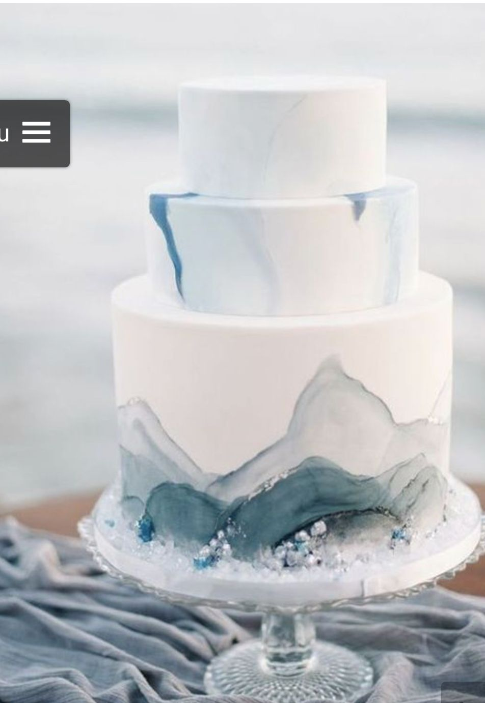 White wedding cake with slate blue | Wedding Cakes | Pinterest ...