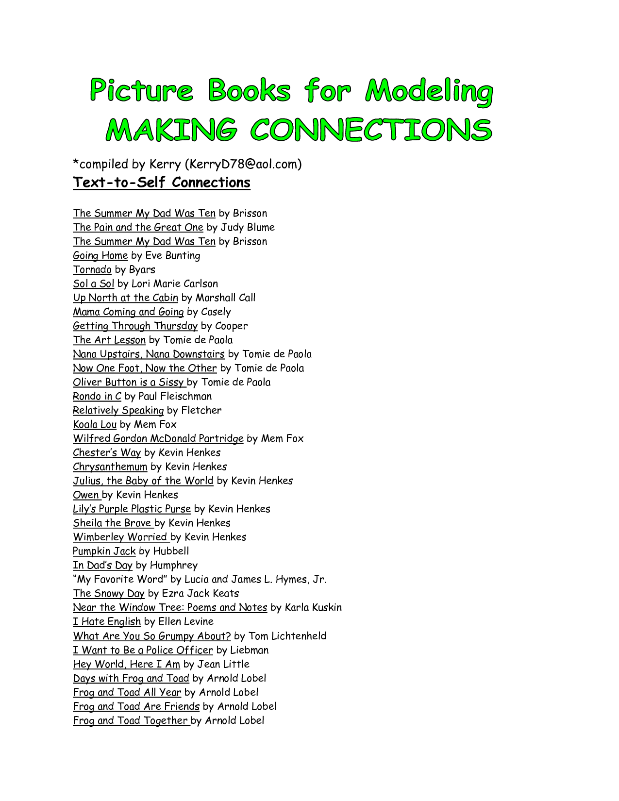 Text-to-Self Connections - PDF | Teaching - Making Connections