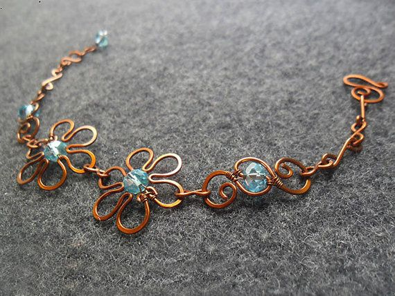 buy 3 get Free Shipping - Spring bacelet Coppe shapping combine 5 elip crystals- copper jewelry - wire jewelry