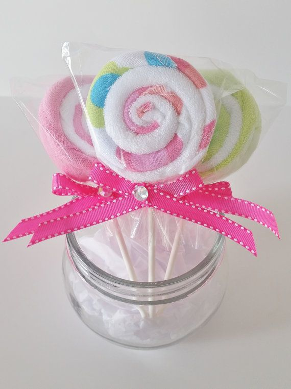 Baby Washcloth Lollipop Shower Favors Gift New Mom Set Of 3 Pink Burp Cloth