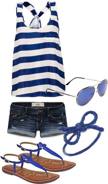 I pinned this pic because of the top - love the nautical look with stripes and the knotted racerback tank look. I actually love the shorts and shoes too!