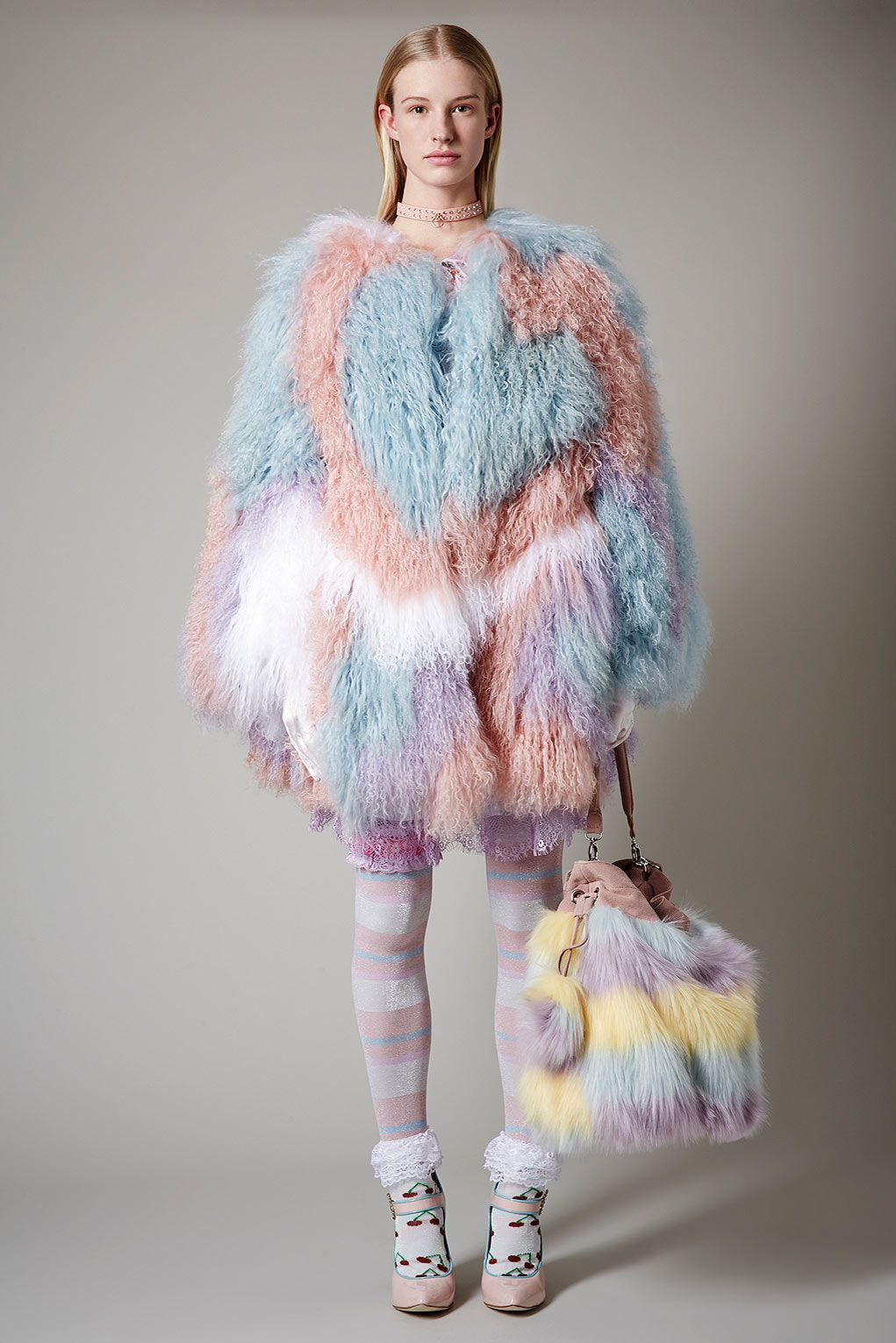 Meadham Kirchhoff for Topshop. fashion, style, pastel colors, candy colors, faux fur coat, outfit inspiration, faux fur bag, fashion accessories