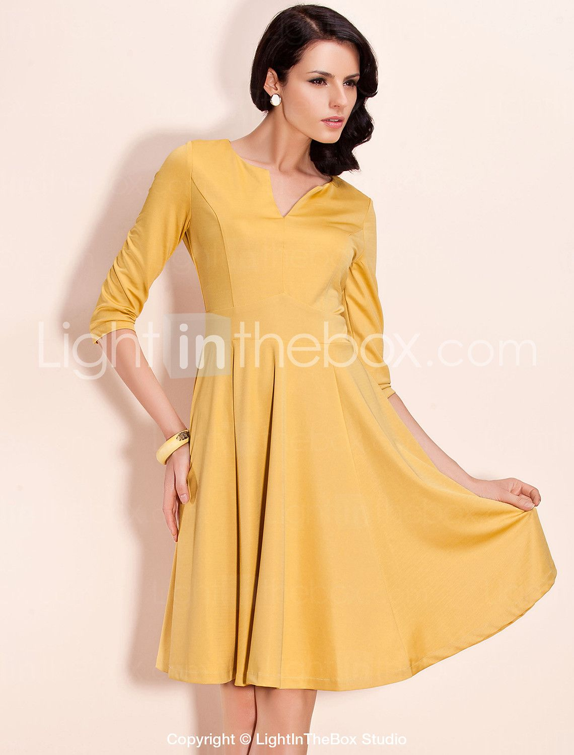 TS Mid Sleeve Swing Jersey Dress (More Colors) - USD $ 39.99