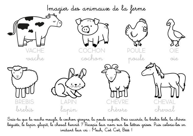 coloriage imprimer imagier des animaux de la ferme. Black Bedroom Furniture Sets. Home Design Ideas