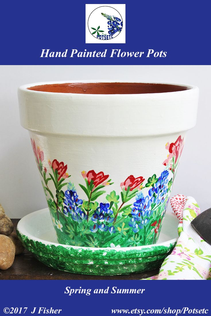 Painted Flower Pot Wild Flowers Bluebonnets Terra Cotta Planter Hand Painted Clay Pot Home Or Garden Painted Flower Pots Small Flower Pots Blue Bonnets