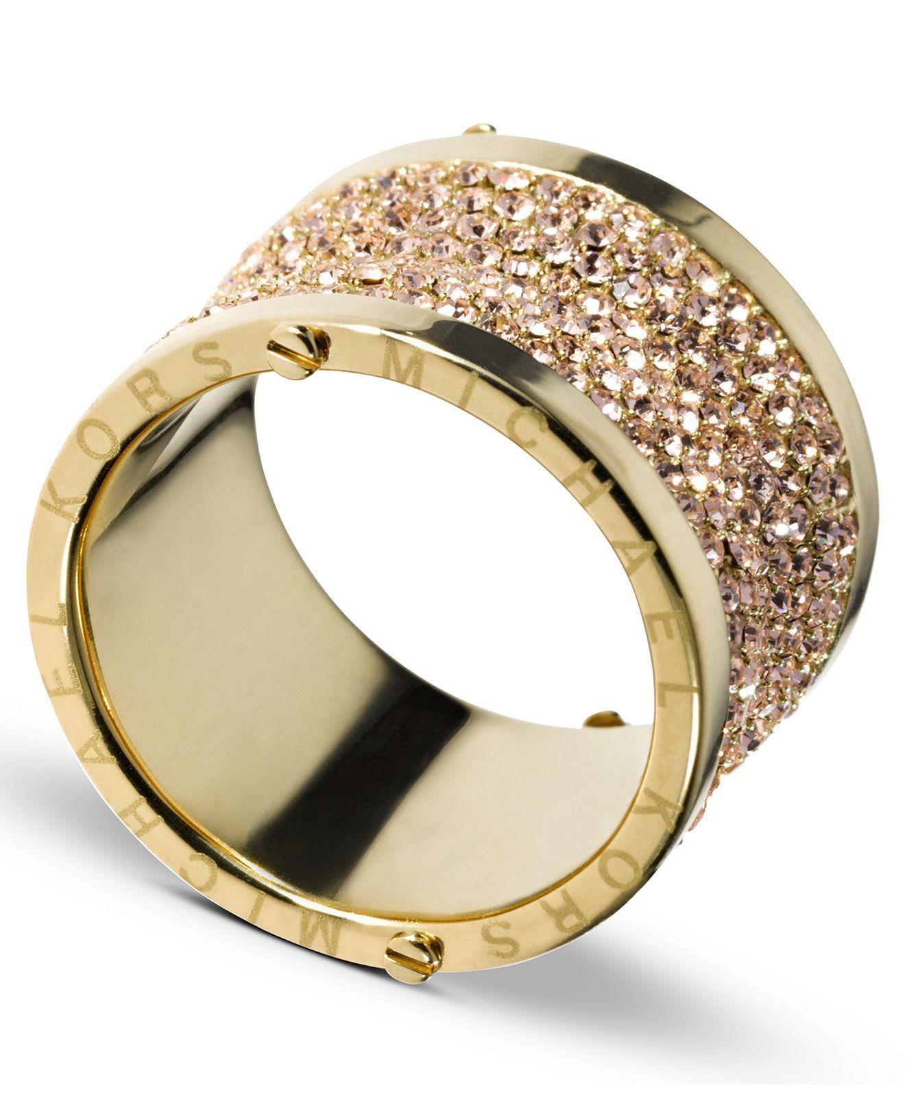 Michael Kors Ring, Gold Tone Pave Barrel Ring - Fashion ...
