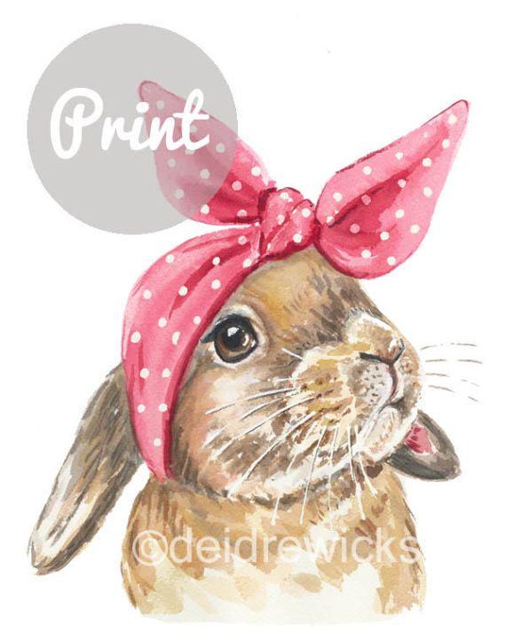 Peinture A L Aquarelle De Lapin Bunny Print Echarpe De Tete Des