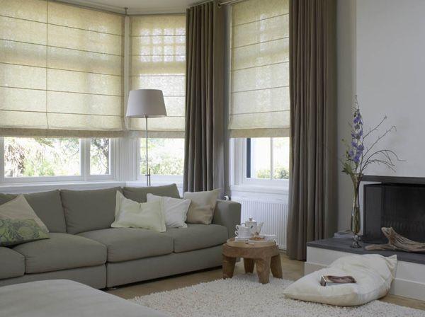rolgordijnen + gewone gordijnen | Home | Pinterest | Living rooms ...