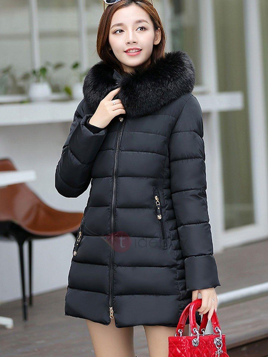 Traje de Plumon Venta Caliente Abrigo con Capucha de Cierre Bosillos para  Mujer b00ac3b15cff