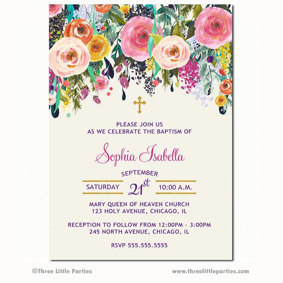 Mädchen Blumen Taufe Einladung Taufe Einladung Erste Heilige Kommunion  Einladung, Bestätigung Einladung Blume Cottage Schicke Taufe