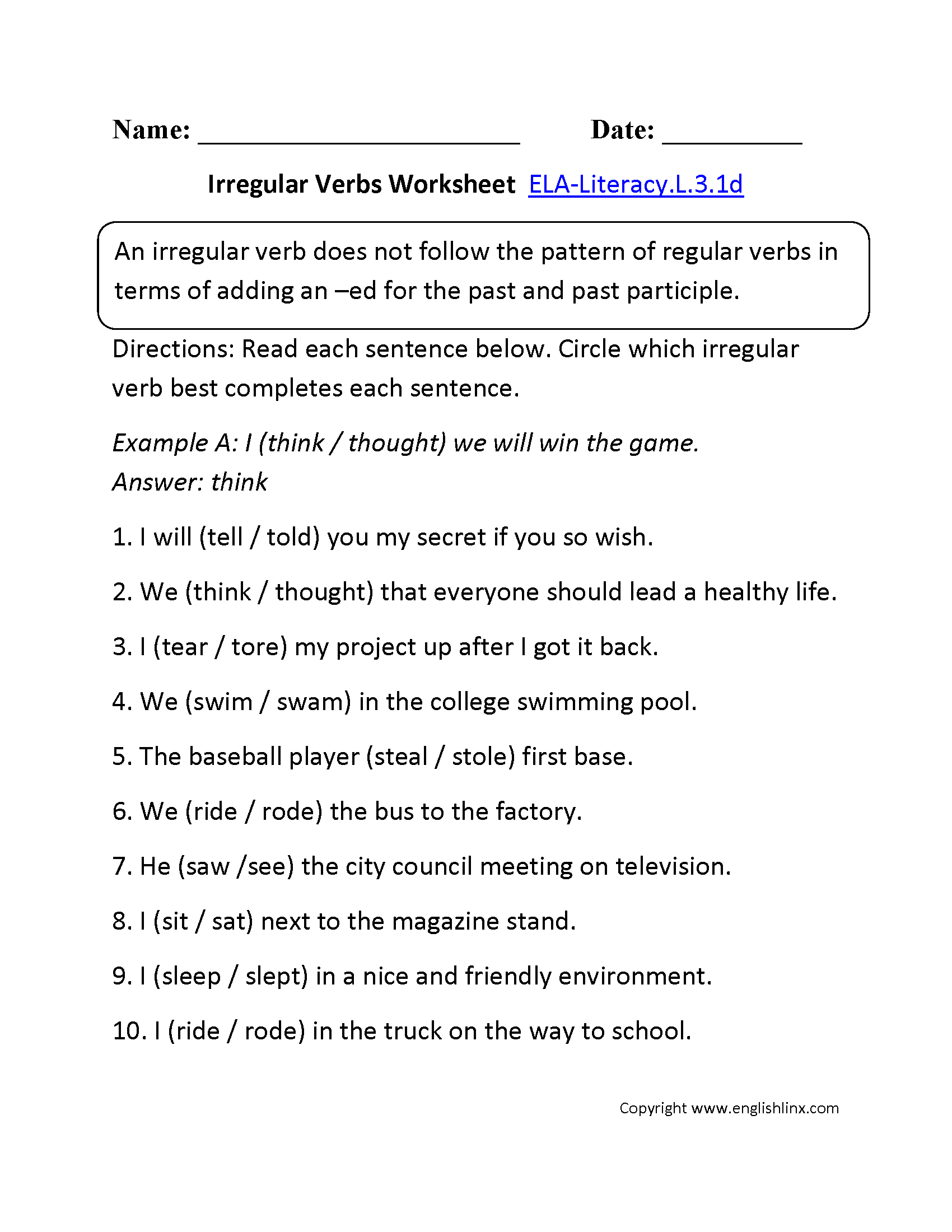 Irregular Verbs Worksheet 1 Ela Literacy L 3 1d Language Worksheet
