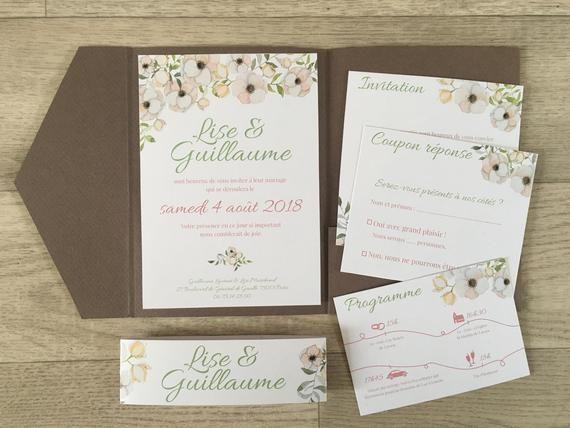 Faire-part mariage champêtre, papeterie fleurs, pochette coupons, chic, pastel