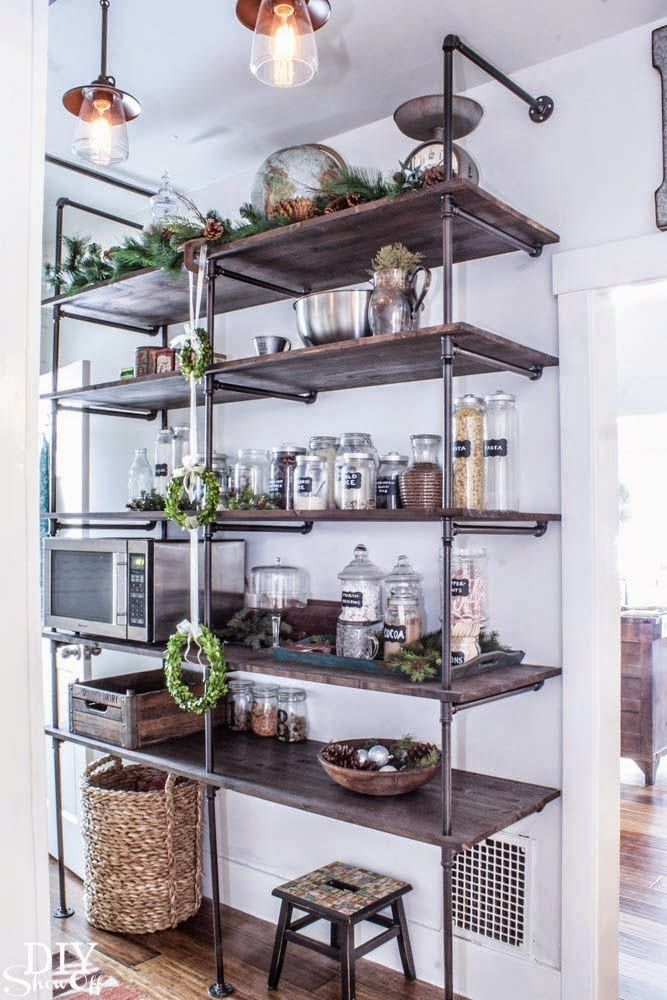 Metal Kitchen Shelves Buffet Storage Cabinet Decorating Ideas 11 Tricks For A Spring Summer Feel Domestic Pipe Shelving Pantry Industrial