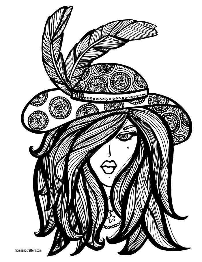 Lady in Hat coloring page | Adult Coloring Therapy-Free ...